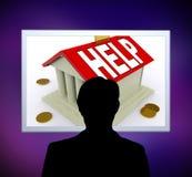 Hilfe auf Haus-oder Geld-Kasten-Mann-Durchschnitt-Darlehens-Unterstützung Stockfotos