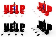Hilfe-Center-Konzept Sammlungen der Frau 3d mit Alpha And Shadow Channel Lizenzfreie Stockbilder