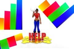 Hilfe der Frauen-3d Stockfoto