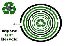 Hilfe, Erde zu retten bereiten ringsum Labyrinth auf Stockbild