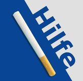 Hilfe. The german word Help over blue background with cigarettes. Hilfe. Help. The german word Help over blue background with cigarettes. Concept: Get help and stock images