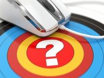 Hilfe online. Frage in der Mitte des Ziels und der Maus. Lizenzfreie Stockbilder