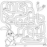 Hilfe wenig Häschenentdeckungsweg zur Karotte labyrinth Labyrinthspiel für Kinder Schwarzweiss-Vektorillustration für Malbuch lizenzfreie abbildung