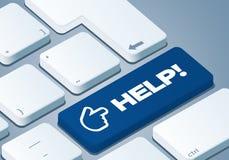 Hilfetaste - Tastatur mit Illustration des Konzeptes 3D lizenzfreie abbildung