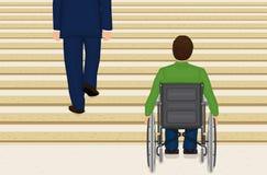 Hilflos in einem Rollstuhl Stockbild
