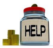 Hilfsglas zeigt finanzielle Unterstützung oder Beitrag vektor abbildung
