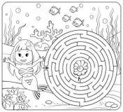 Hilfsmeerjungfrau-Entdeckungsweg zu perlen labyrinth Labyrinthspiel für Kinder Farbtonseite Stockbild