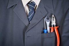 Hilfsmittel in der Geschäftsmanntasche Stockfoto
