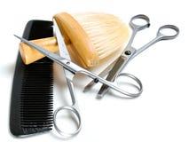 Hilfsmittel des alten Friseurs Stockfotografie