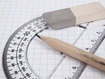 Hilfsmittel für das Zeichnen auf die Übungsteilseite Lizenzfreies Stockbild
