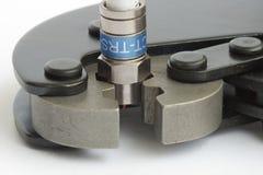 Hilfsmittel für die Montierung der CATV Verbinder stockfotografie