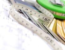 Hilfsmittel für Haupterneuerung auf Architekturzeichnung Lizenzfreies Stockfoto