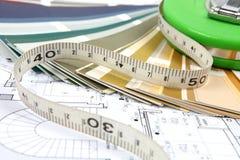 Hilfsmittel für Haupterneuerung auf Architekturzeichnung Stockfoto