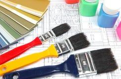 Hilfsmittel für Haupterneuerung auf Architekturzeichnung Stockbilder