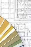 Hilfsmittel für Haupterneuerung auf Architekturzeichnung Lizenzfreies Stockbild