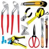 Hilfsmittel Handwerkzeug Vektorhandwerkzeug lokalisiert auf weißem Hintergrund Lizenzfreie Stockbilder