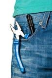 Hilfsmittel in Jeans Stockfoto