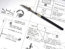 Hilfsmittel und Pläne des Architekten Lizenzfreie Stockfotografie