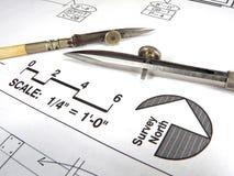 Hilfsmittel und Pläne des Architekten Stockfoto