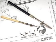 Hilfsmittel und Pläne des Architekten Lizenzfreies Stockbild