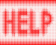 HILFSrote Aufschrift auf einem weißen Hintergrund Stockbild