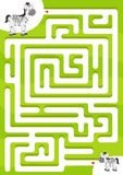 Hilfszebra den Sohn finden Labyrinthspiel für Kinder lizenzfreie abbildung