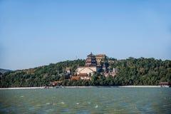 Hill μακροζωίας όχθεων της λίμνης Kunming θερινών παλατιών του Πεκίνου Στοκ Εικόνα