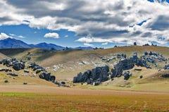 Hill του Castle στις νότιες Άλπεις, Arthur& x27 πέρασμα του s, νότιο νησί της Νέας Ζηλανδίας Στοκ Φωτογραφία