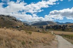 Hill του Castle στις νότιες Άλπεις, Arthur& x27 πέρασμα του s, νότιο νησί της Νέας Ζηλανδίας Στοκ Φωτογραφίες
