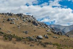 Hill του Castle στις νότιες Άλπεις, Arthur& x27 πέρασμα του s, νότιο νησί της Νέας Ζηλανδίας Στοκ Εικόνες