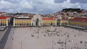 The hill of Alfama Lisbon - aerial view from Commerce Square called Praca do Comercio - CITY OF LISBON, PORTUGAL - stock video footage
