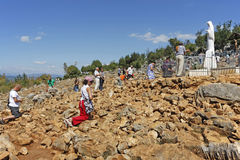 Hill of apparitions in Medjugorje Stock Photos