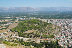 Hill of Aspida in Argos, Peloponnese, Greece. View of Aspida hill from above, from Larissa hill Stock Photo