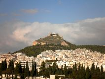 Hill in Athens. Beautiful view of a hill in Athens, Greece stock photos