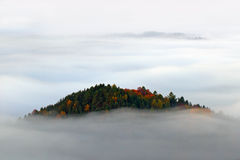 Hill with autumn trees in the fog clouds, white waves, foggy morning in a fall valley of Bohemian Switzerland park, landscape of C Royalty Free Stock Photo
