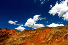 Hill barrenness. Barren hills and rock surface in leh stock photos
