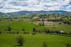 Hill and blue sky rural landscape Stock Photography