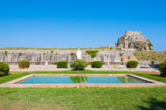 The hill of Castel a Terra is visible in the Old Fortress. Corfu island, Greece. Stock Images