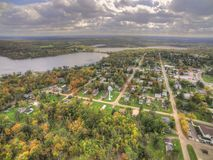 Hill City in Northern Minnesota. Hill City is a small Midwestern Town in Northern Minnesota. This is an aerial view taken in autumn stock photo