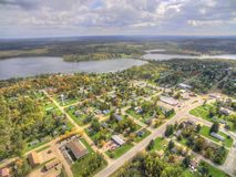 Hill City in Northern Minnesota. Hill City is a small Midwestern Town in Northern Minnesota. This is an aerial view taken in autumn royalty free stock photo
