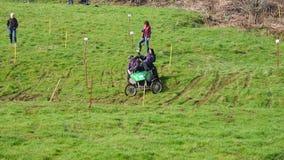 Hill climb on grass stock video