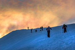 Hill climbing in winter Royalty Free Stock Images