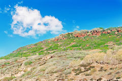 Hill and cloud. Green hill under a big white cloud Royalty Free Stock Image