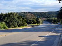 Hill country in Austin Texas. Green hills of Austin Texas on a nice sunny day Stock Photo