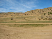 Hill covered of yellow grass under clear blue sky Stock Images