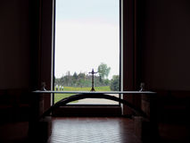 Hill of crosses from the chapel. Stock Photo