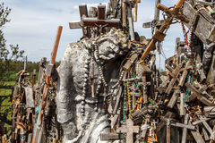 Hill of Crosses with Crucifix Royalty Free Stock Photos