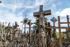 Hill of Crosses with Crucifix Royalty Free Stock Image