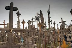 Hill of Crosses I. Thousands of crosses mark individual demonstrations of faith at the Hill of Crosses outside Siauliai in Western Lithuania Royalty Free Stock Image