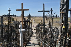Hill of Crosses, Å iauliai, Lithuania. Hill of Crosses, near city Å iauliai in Lithuania is very famous places, where on old mass grave people brings a stock photo